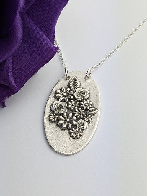 Sustainable Silver Floral Bouquet Necklace. OOAK