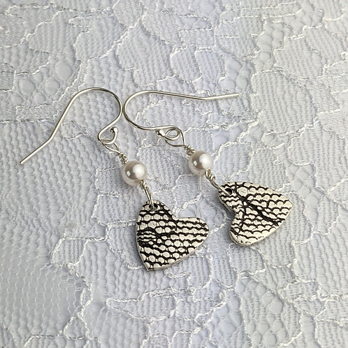 Sustainable Silver Lace Heart earrings with Ivory Swarovski pearls. OOAK