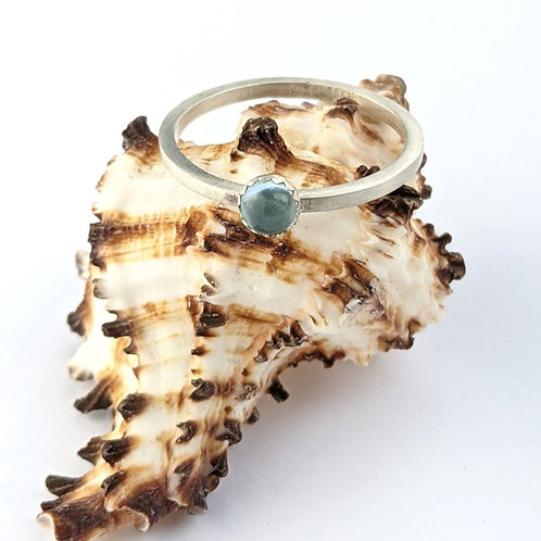 Sustainable Brushed Matt Silver & Ethically sourced Blue Topaz Stacking Ring