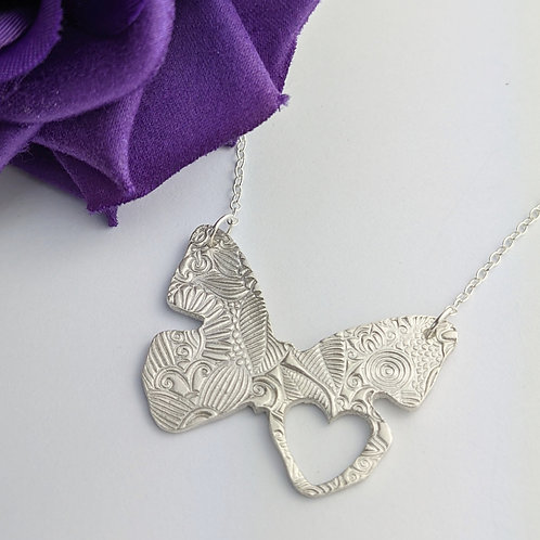 Sustainable Silver Statement Floral Butterfly Necklace. OOAK