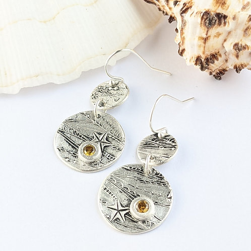Sustainable Silver Shoreline Dangle Earrings with Yellow CZ gems