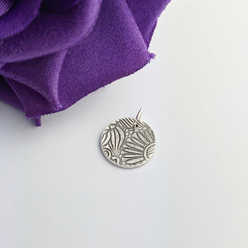 Sustainable Silver Floral Charm. Clip on or jump ring