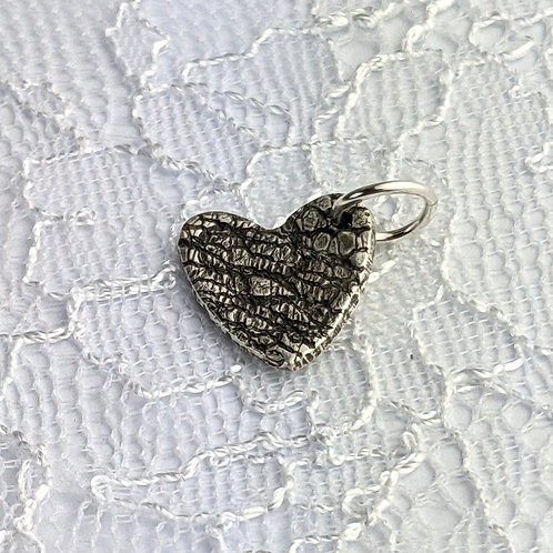 Sustainable Silver Lace Charm. Clip on or jump ring. Make your own b