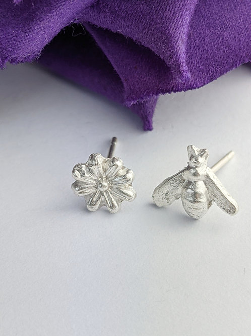 Sustainable Silver Flower & Bee mismatch Stud Earrings