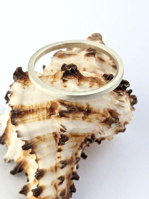 Sustainable Brushed Matt Silver Stacking Ring