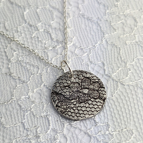 Sustainable Silver Lace Pendant Necklace