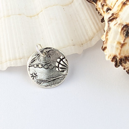 Sustainable Silver Shoreline Charm. Clip on or jump ring