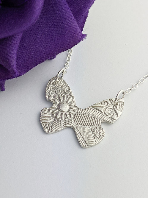Sustainable Silver Floral Butterfly Necklace