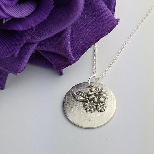 Sustainable Silver Flower Bunch Pendant Necklace
