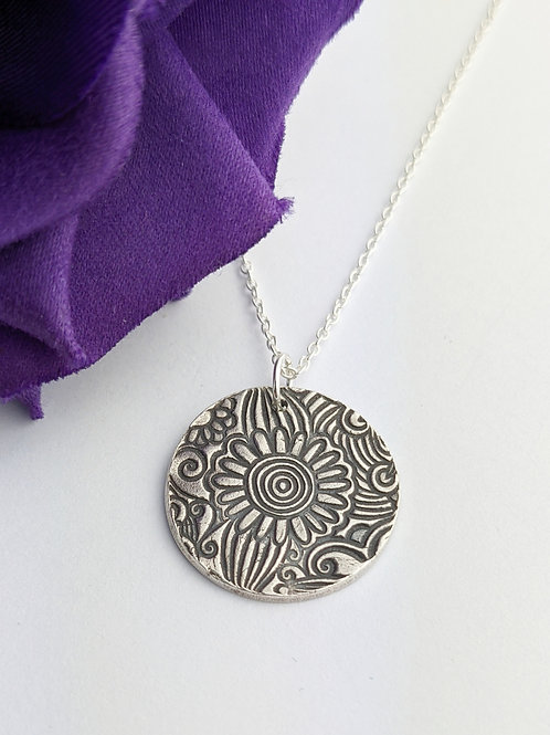 Sustainable Silver Floral Pendant Necklace