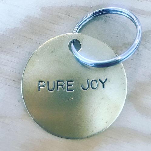 PURE JOY Brass Keychain
