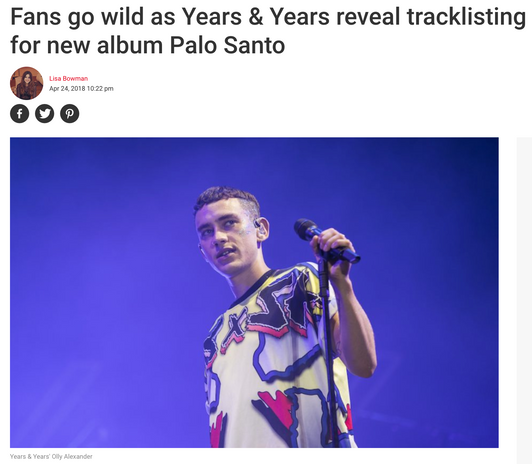 Years & Years - Press Pickup for Track Listing Reveal