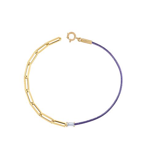 Silk Cord & Paperclip chain Diamond Bracelet
