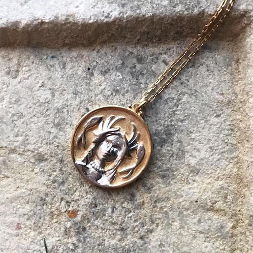 Vila: 14k Gold Mythological Medallion Necklace