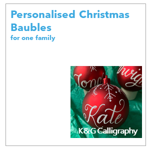 K&G Calligraphy makes beautifully hand-decorated, personalised Christmas baubles. Perfect for friends and loved ones, they are a unique gift that will be cherished for years to come.