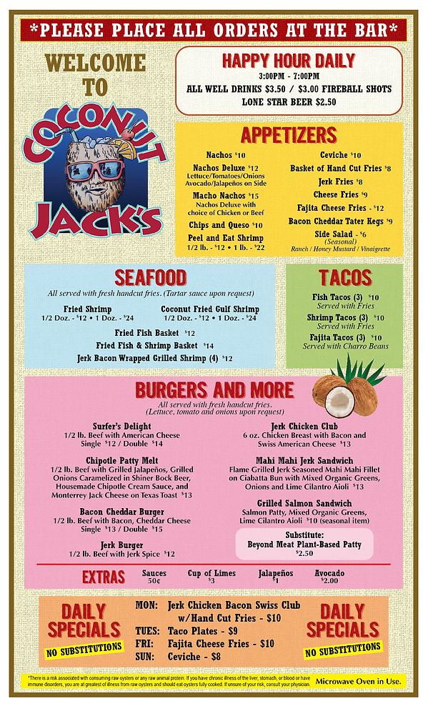 Bar & Grill full menu, burgers and seafood bayside paito restaurant and bar watersports