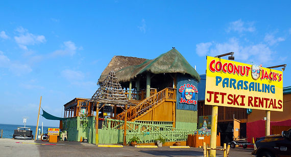 Coconut Jack's Patio Restaurant & Bar, watersports, great views of fireworks on the bay Tuesday 9:15 pm all summer.