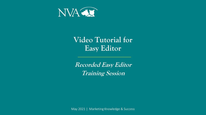 Pre-Recorded Easy Editor Training Session