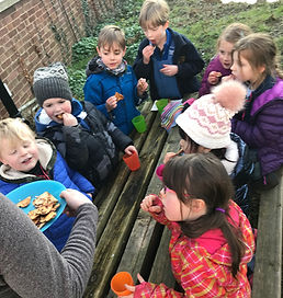 snack time at forest school