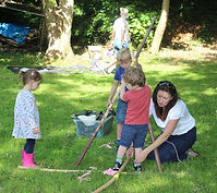 Camp building at forest school