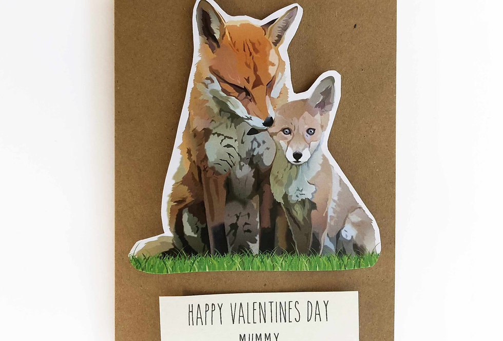 Fox Valentines card 'Happy Valentine's day Mummy'