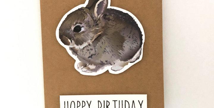 Baby bunny - 'Hoppy'  birthday card
