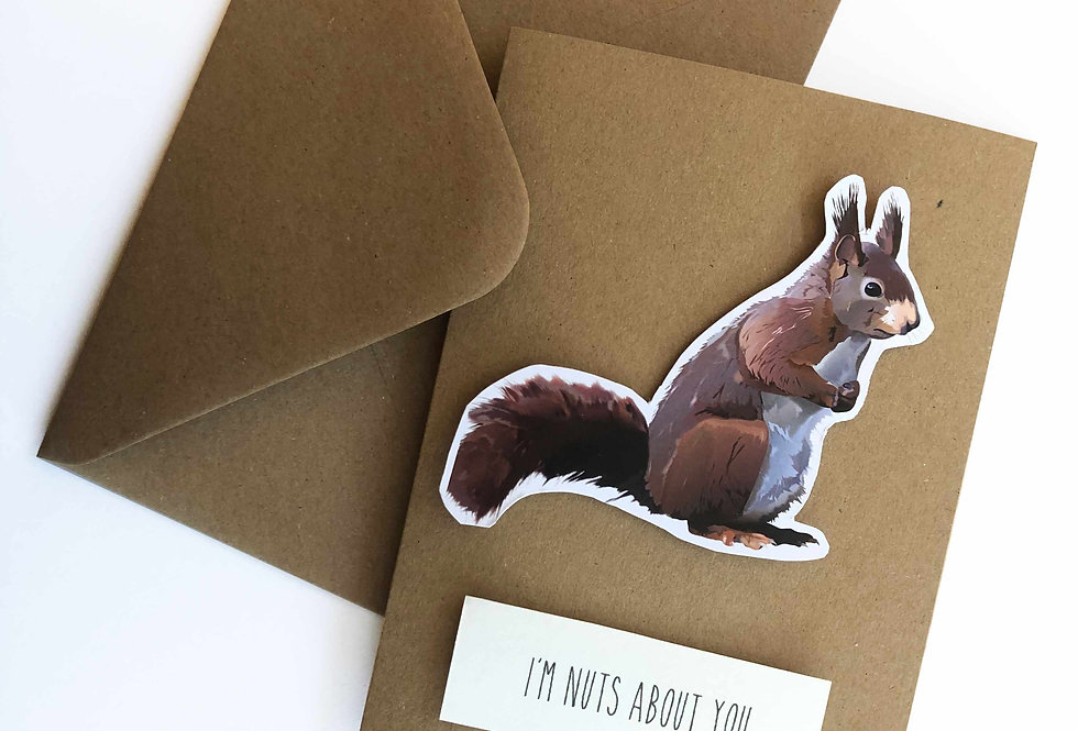 Red Squirrel Valentine's card- 'I'm nuts about you'