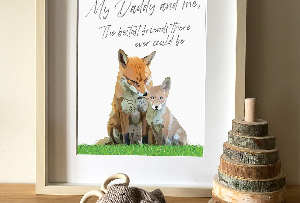 Fox and cub illustration print with quote