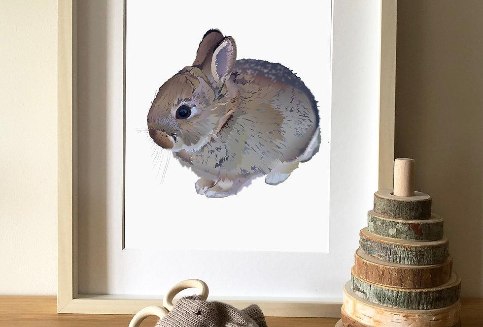 Baby bunny Illustration print