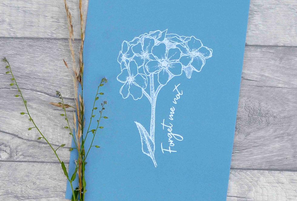 Forget me not illustration print  - Cornflower