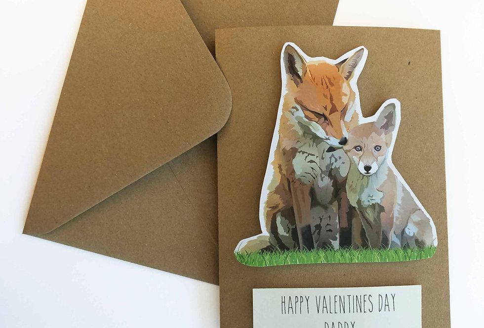 Fox Valentines card 'Happy Valentine's day Daddy'