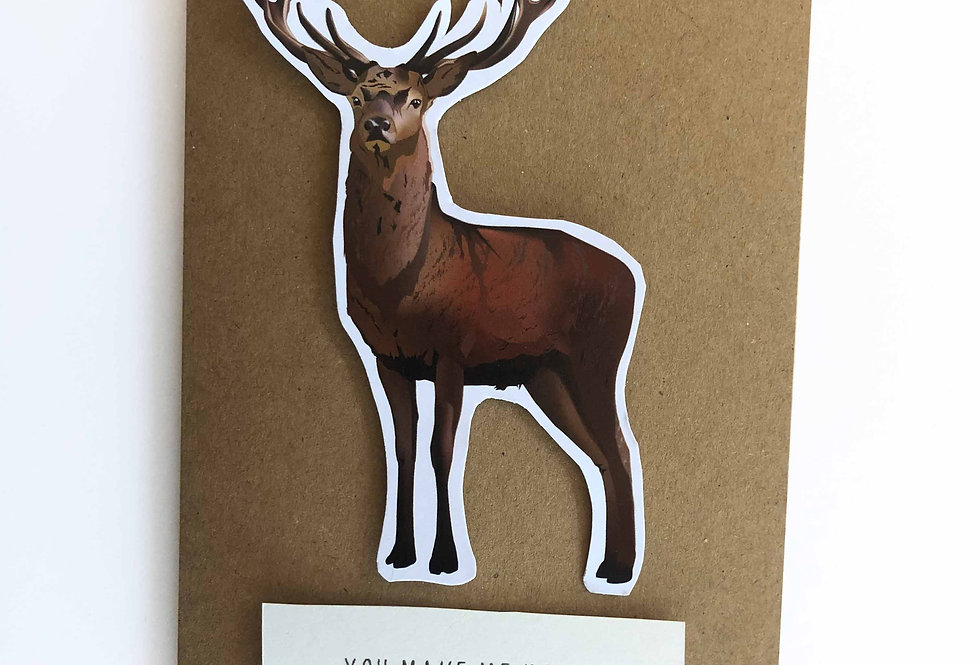 Stag Valentine's card-'You make me horny'