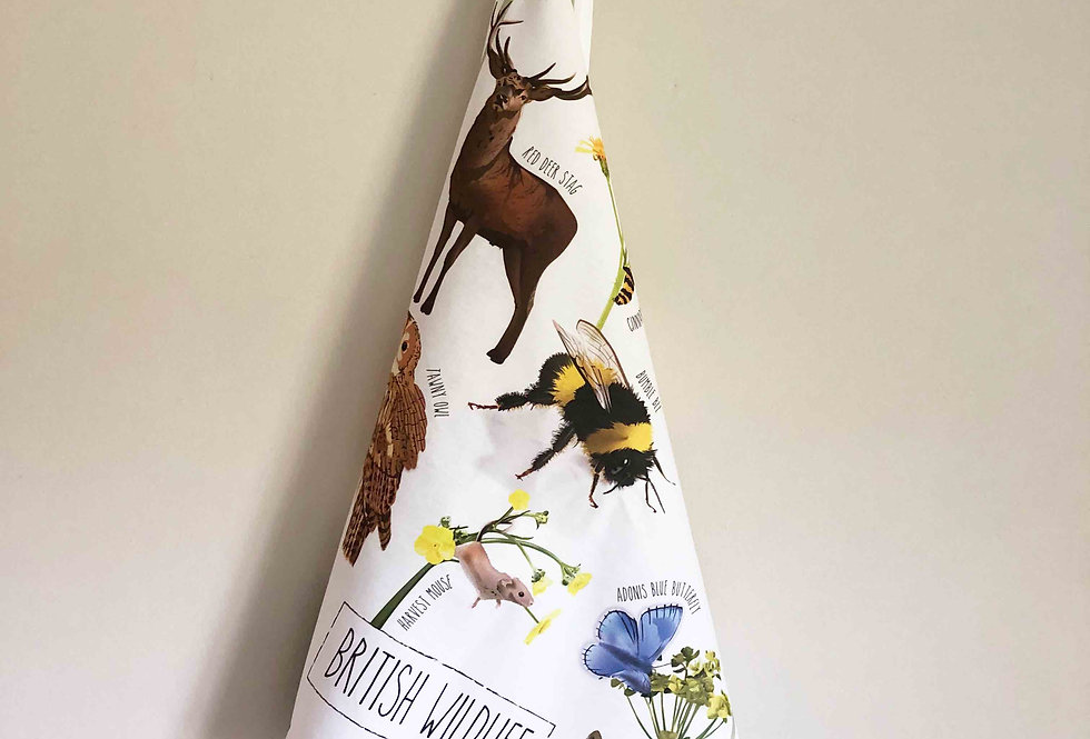 British Wildlife Design Cotton Tea towel