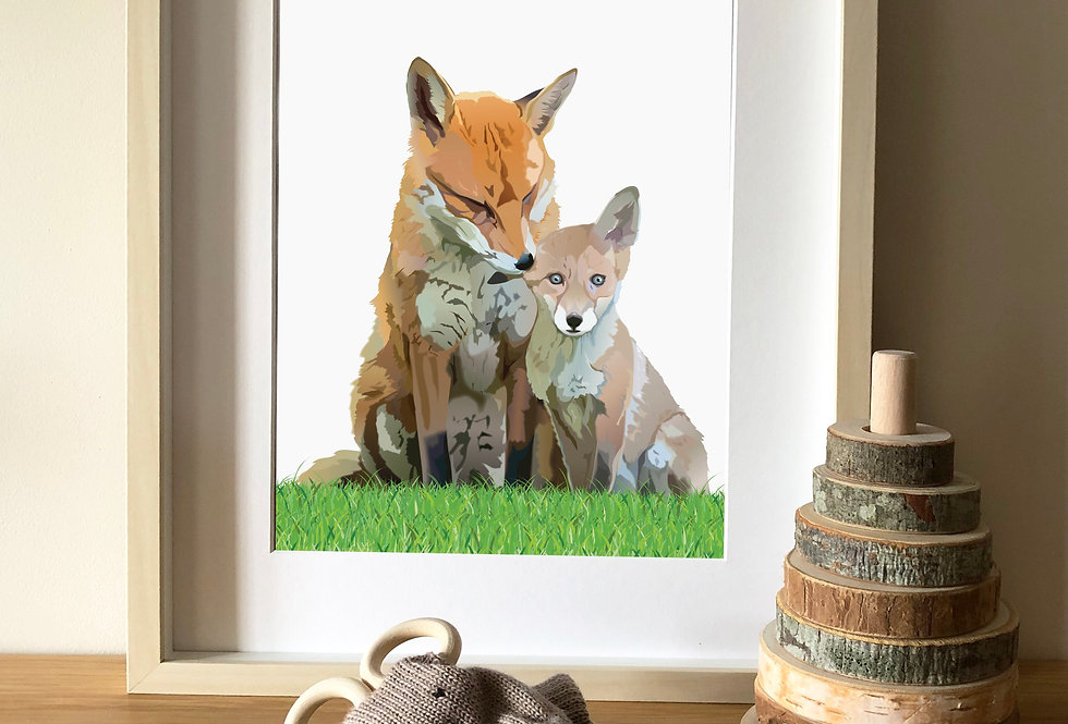 Fox and cub illustration print