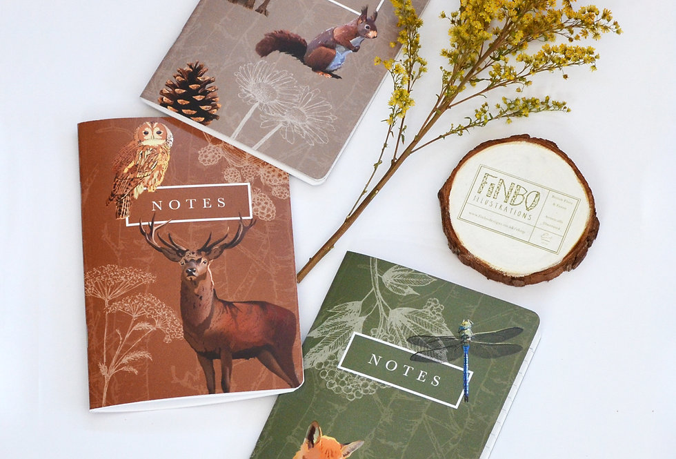 Trio of Wildlife design notebooks