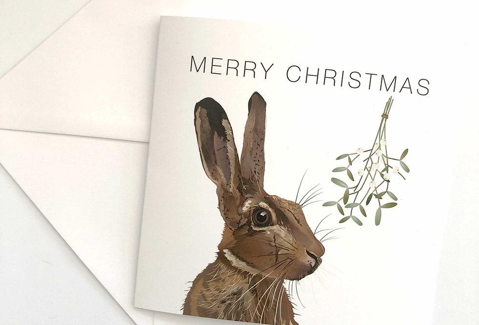 Hare Christmas card