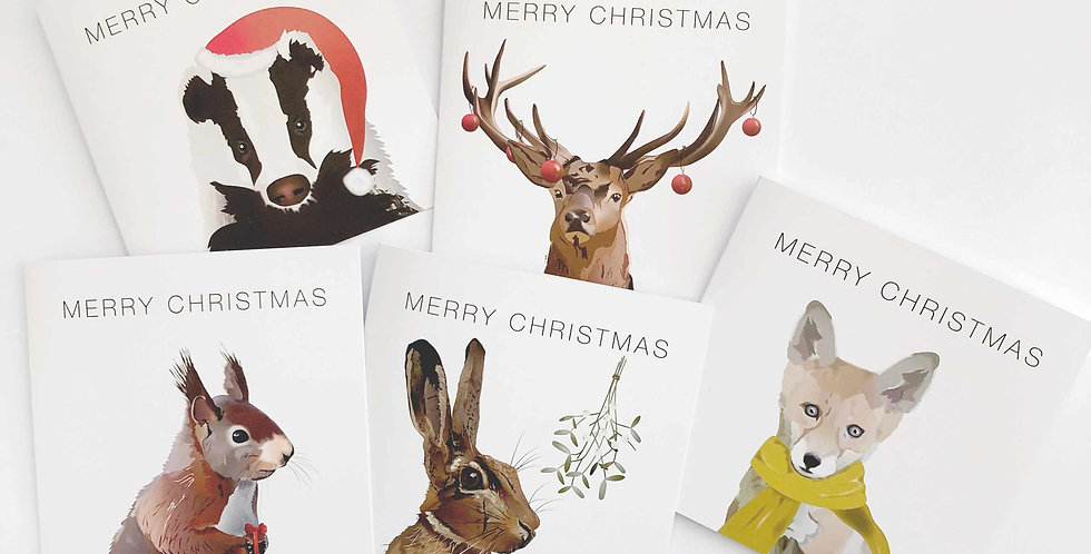 Set of 5 Wildlife Christmas cards