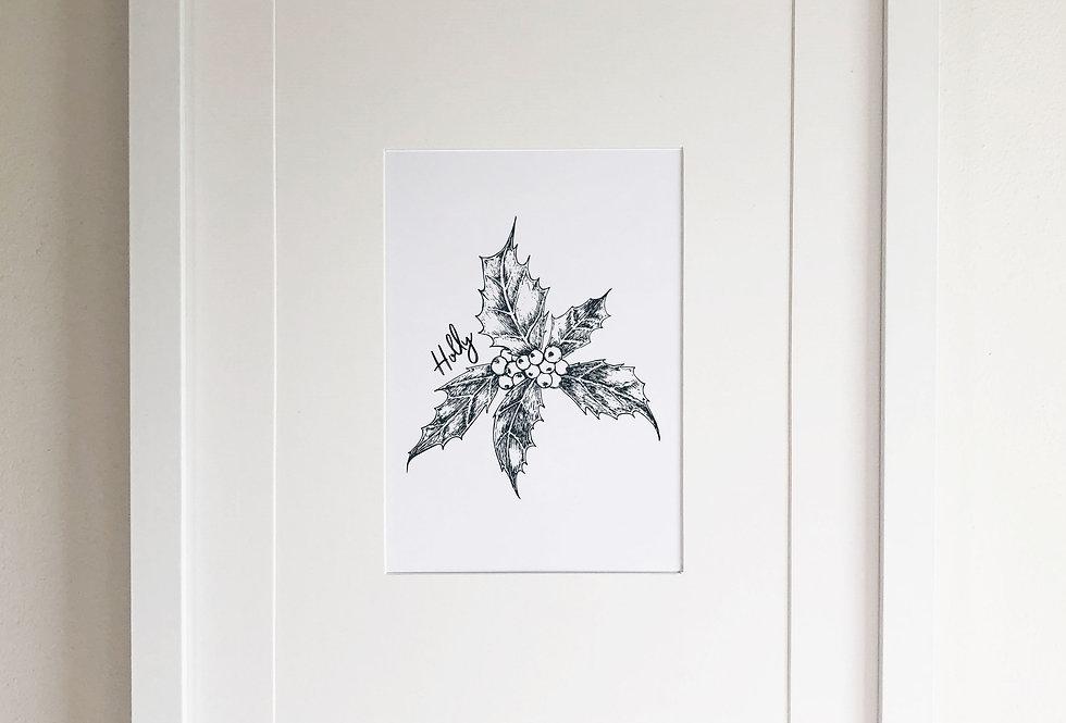 Holly illustration print  - Crisp