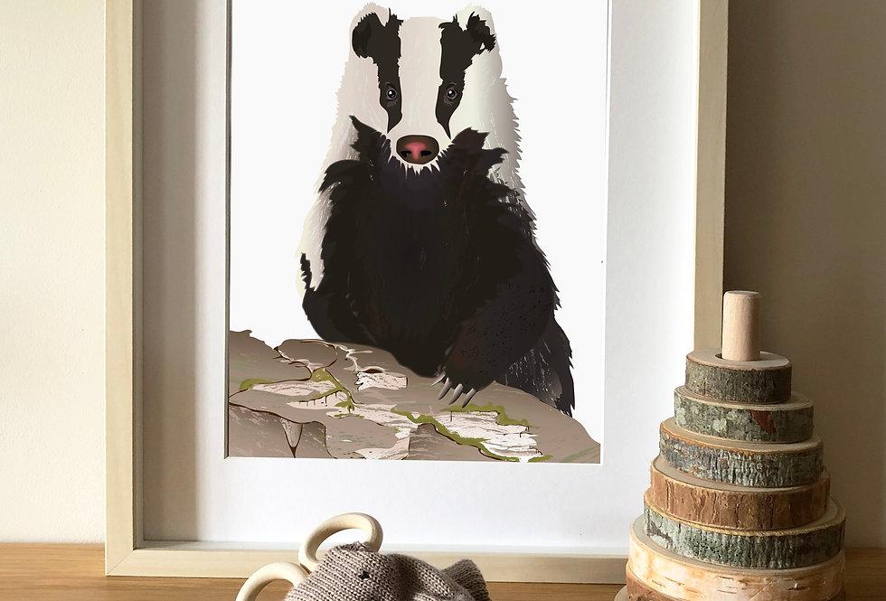 Badger illustration print