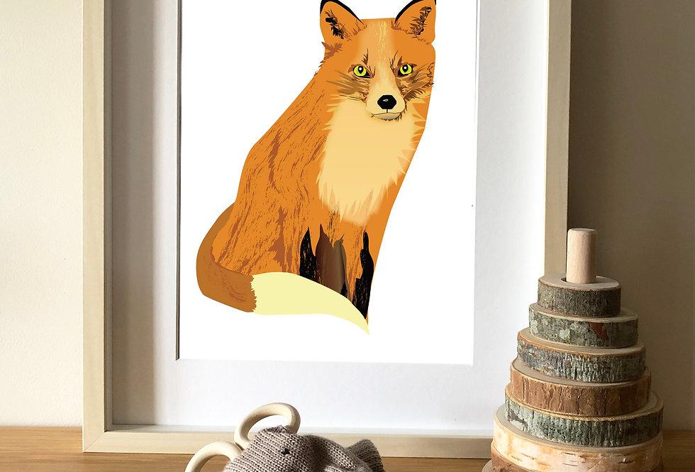 Fox illustration print
