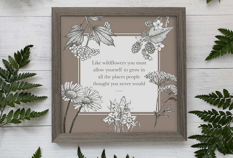 Wildflower illustration print with quote