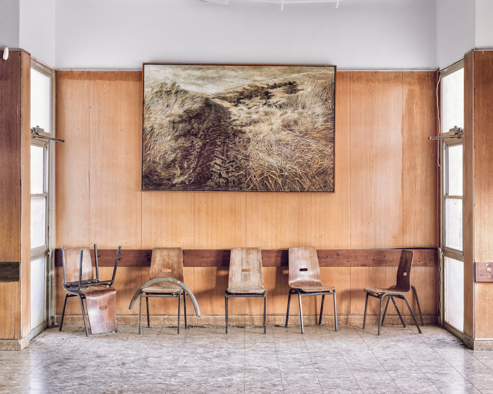 Landscape Painting On Wall, Dining Hall, Kibbutz Yiftach, 2015