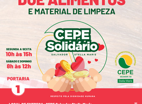 Projeto CEPE Solidário arrecada alimentos não-perecíveis e material de limpeza