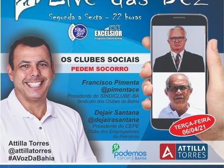 Situação dos Clubes Sociais será debatida na Live das Dez, hoje (6/4), às 22h