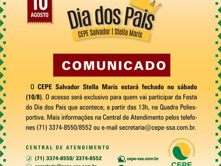 O CEPE Salvador Stella Maris estará fechado no sábado (10/8)