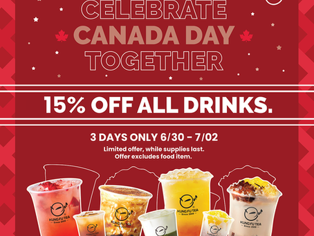 Celebrating Canada Day 15% off on all drinks