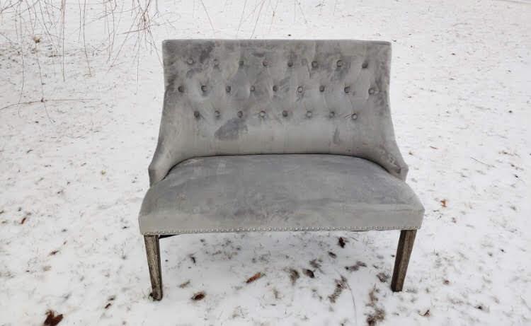 Velvet Grey Settee