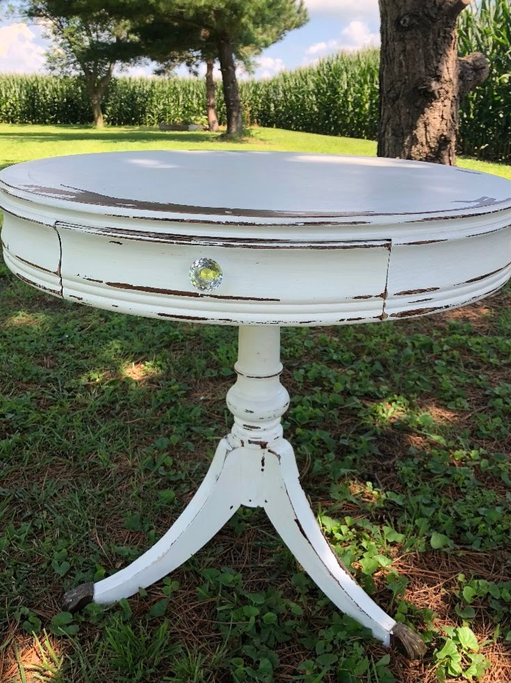 Whitewashed Round Side Table
