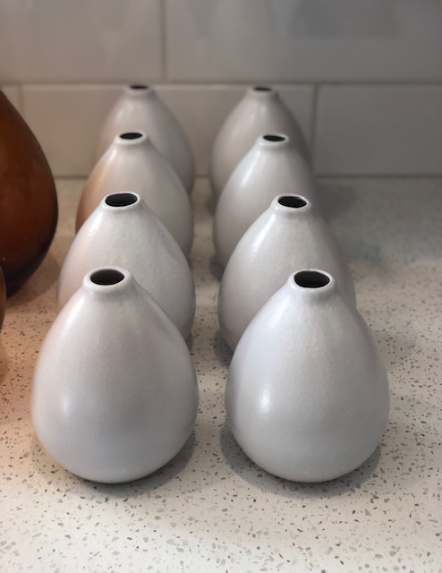 White Ceramic Bud Vases