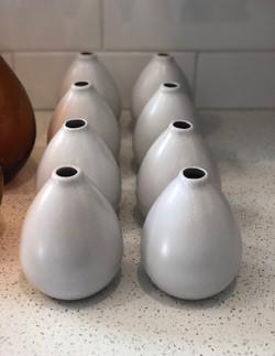White Ceramic Bud Vases